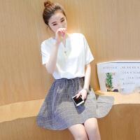 新款韩版气质女装宽松短袖上衣拼接收腰格子短裙连衣裙时尚  可礼品卡支付