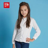 季季乐童装女童衬衫春秋款时尚中大童长袖上衣白色纯棉GQC61152