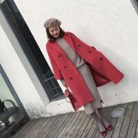 新款2018秋冬中长款茧型红色呢子大衣女宽松气质双排扣毛呢外套潮