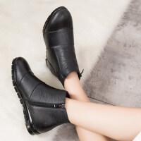妈妈鞋软底女平底秋冬款单靴加绒保暖棉鞋防滑老人鞋短靴女靴