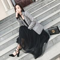 女外套西装韩版 春秋中长款长袖大码女装 显瘦修闲复古格子小西服 灰色 X