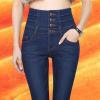 高腰牛仔裤女款春秋款2018新款韩版超高腰显瘦冬季加厚加绒长裤子DF-1023