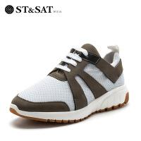 【大牌日3折】星期六男鞋(ST&SAT)牛皮轻便透气时尚休闲运动鞋驾车鞋男SS71128723