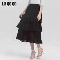 Lagogo/拉谷谷2019秋新款女时尚蛋糕多层黑色褶皱半裙ICBB336F48