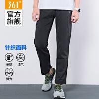 361度新款男装运动裤男黑色休闲跑步直筒针织长裤正品