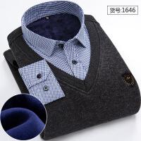 冬季男士加绒加厚假两件内衣保暖衬衫男上衣青年针织衫中老年衬衣P008