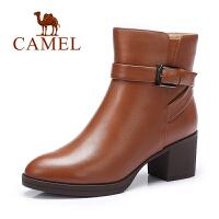 Camel/骆驼女靴 春季新款休闲简约中筒靴舒适女靴粗跟靴