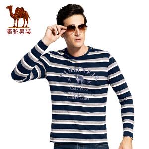 骆驼男装 2017秋季新条纹男士长袖T恤圆领时尚上衣休闲衫