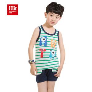 季季乐 童装男童夏装卡通休闲纯棉条纹短袖套装BXZ53120
