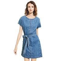 【网易严选清仓秒杀】女式波浪圆边短袖直筒牛仔连衣裙 蓝色M
