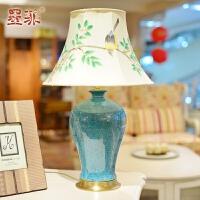 墨菲景德镇单色釉台灯卧室床头创意简约现代欧式陶瓷客厅铜制灯具