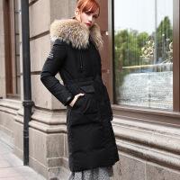 新款羽绒服2018冬季新款欧美风反季羽绒服大毛领修身中长羽绒服女装 黑色