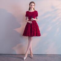 新娘敬酒服2018新款春红色短款结婚晚礼服女聚会派对连衣裙冬