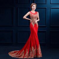 新娘礼服女夏新品小拖尾晚礼服长款红色主持人宴会敬酒服 红色 拖尾