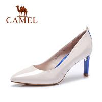Camel/骆驼女鞋 春季新品 尖头牛漆皮酒杯跟通勤OL女单鞋
