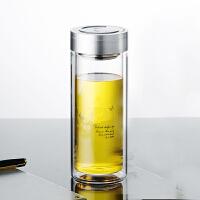 男女大容量家用泡茶杯子套装带盖过滤茶杯玻璃杯双层便携水杯