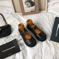 日系复古玛丽珍鞋女中跟圆头学院英伦风厚底ins小皮鞋单鞋制服鞋