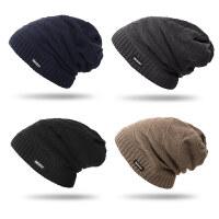 秋冬季男士简约毛线帽子 韩版潮女针织帽户外加厚加绒套头帽包头