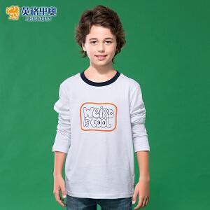 闲纯棉圆领白色打底衫中大童儿童长袖T恤 藏青