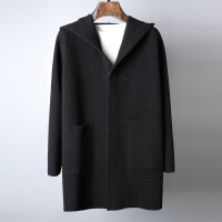 有帅有型毛呢大衣男秋冬羊毛羊绒针织保暖男士中长款连帽毛呢外套 黑色