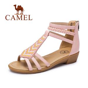 camel骆驼女鞋 时尚休闲新款牛皮波西米亚串珠小坡跟凉鞋