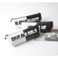 韩国文具小清新皮质笔袋可爱男女款复古黑白色笔盒学生铅笔袋简约