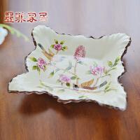 墨菲新古典创意现代陶瓷果盘欧式客厅茶几方形盘子家居装饰零食盘