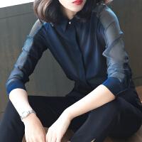 2019春装新款韩版衬衫女长袖大码雪纺宽松设计感上衣洋气职业衬衣女