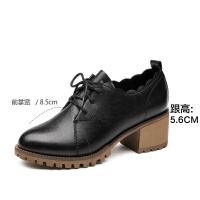 珂卡芙【时尚荷叶边粗跟增高】19春深口系带中跟复古学生小皮鞋
