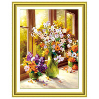 乐陶陶丝带绣 家居装饰 挂画系列 紫苏情缘丝带十字绣客厅C-0016