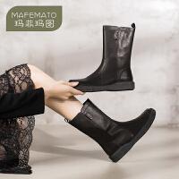 玛菲玛图中筒靴女2020新款秋冬靴子女全真皮英伦复古及裸靴单靴2215-19DL