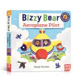 英文原版 Bizzy Bear系列 Aeroplane Pilot 飞行员 低幼英语启蒙早教机关操作纸板游戏书 锻炼手