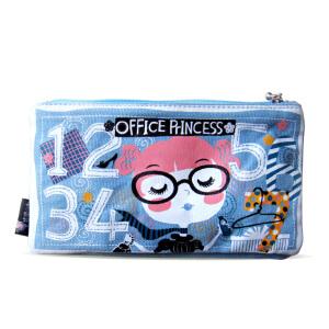 【品牌直供】花间公主 Office公主的零钱袋2019春夏原创可爱 水蓝色 双袋