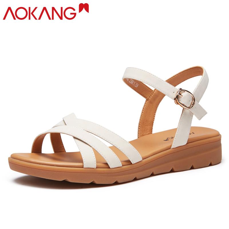奥康凉鞋女夏季一字带舒适平底透气休闲女士凉鞋