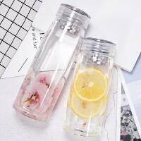 学生便携杯子韩版清新简约过滤茶杯玻璃杯女士透明水杯
