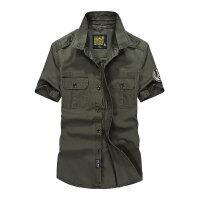 战地吉普AFS JEEP夏装薄款纯棉男士短袖衬衫 1755尖领半袖男衬衫