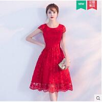 敬酒服新娘 新款红色结婚订婚小礼服女甜美公主连衣裙短款