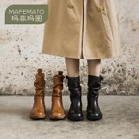 玛菲玛图秋冬季女靴欧美潮流真皮短靴褶皱方跟马丁靴女5751B-69