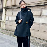 毛呢外套 女士秋冬新款翻领撞色短款呢子大衣女式韩版双排扣茧型修身收腰学生女装