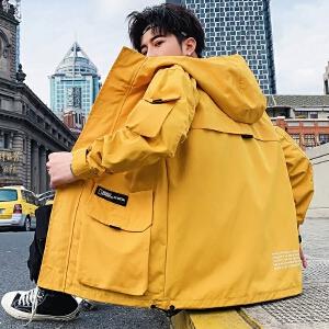 男士外套韩版潮流2019年春秋季休闲立领工装潮牌夹克男装