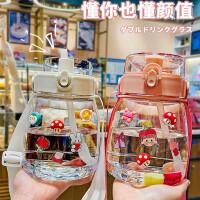 超大容量塑料杯女夏季网红大水壶便携太空杯耐热可爱杯子大肚运动吸管杯(赠杯刷)