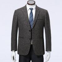 男士单西秋季羊毛休闲西装中年外套西服上衣免烫单件便西 深棕色