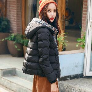 裂帛女装2017冬装新款连帽刺绣短款白鸭绒衣防风长袖羽绒服女