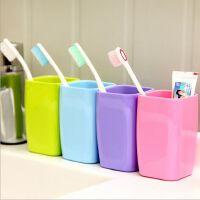 糖果色清新纯色加厚方口杯 方形塑料漱口杯牙杯 旅行水杯子