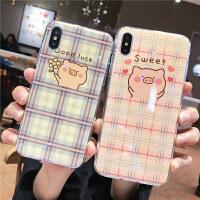 韩国可爱卡通格纹小猪苹果xs max手机壳iphone X防摔软壳苹果7plus蓝光保护套8plus个性XR情侣男女款