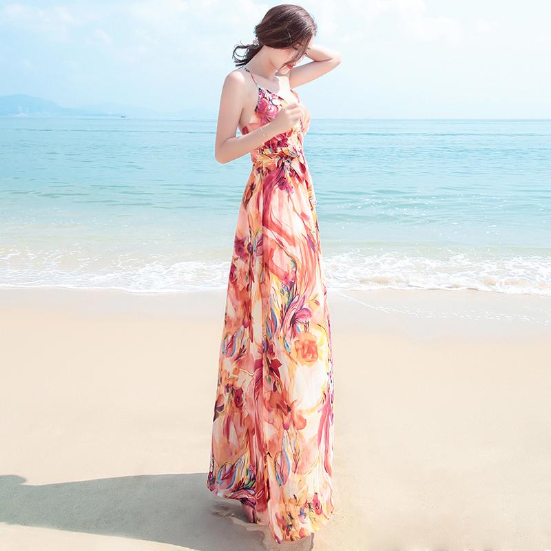 新款露背吊带印花雪纺连衣裙波西米亚长裙泰国海边度假沙滩裙 图片色 发货周期:一般在付款后2-90天左右发货,具体发货时间请以与客服协商的时间为准