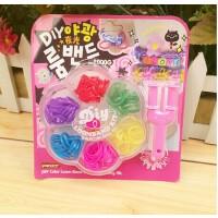 彩虹编织工艺皮筋儿童DIY手工制作玩具女孩织造手镯手链手绳夜光
