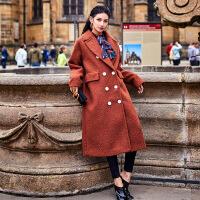新女大衣2017冬季新款女装原创设计焦糖色双排扣羊毛尼大衣加长款 咖色 均码
