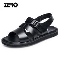 Zero零度男凉鞋夏季真皮休闲男士凉拖鞋 露趾凉鞋头层牛皮舒适沙滩鞋凉鞋F6172