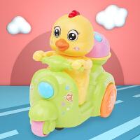 摩托车玩具灯光宝宝鸡仔婴儿童电动万向带音乐爬行 6-12个月